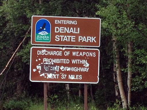Denali State Park bullet sign