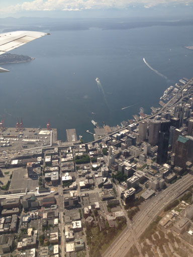 Landing plane over Seattle