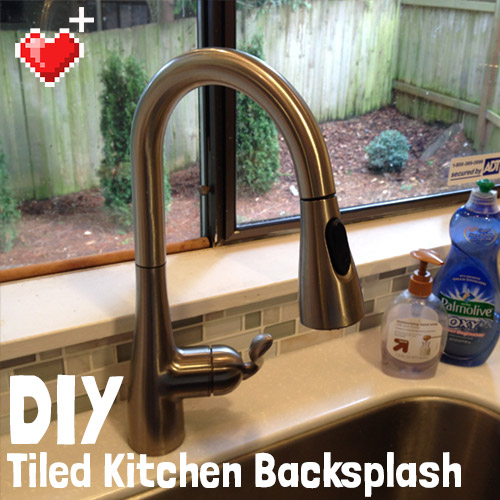 DIY kitchen backsplash tiling project
