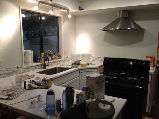 DIY kitchen backsplash: another home improvement project, another mess! (Good thing we have Cheez-It!)
