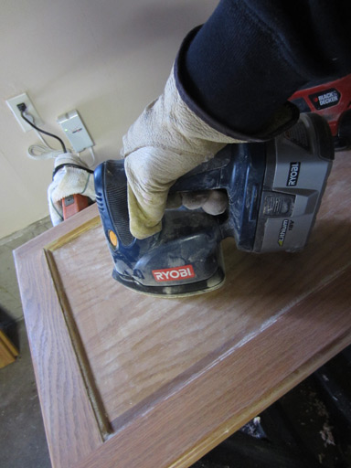 sanding cabinet faces with coarse grit
