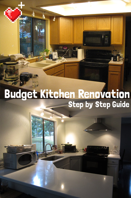 Level Up House's budget kitchen renovation. We repainted our cabinets, replaced our floors, installed a range hood, replaced the dated fluorescents with can lights, and tiled our own backsplash. And we did it for $6000 - WAY less than any contractor would've done it for!