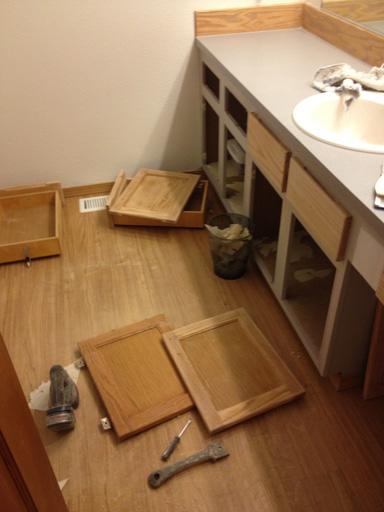 refinishing a bathroom vanity sanding cabinet faces
