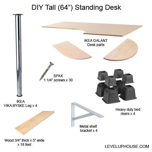 tall diy standing desk parts how to build ikea parts