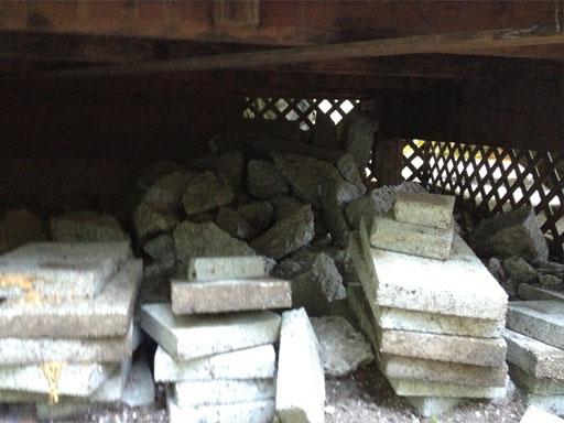 concrete under wooden deck