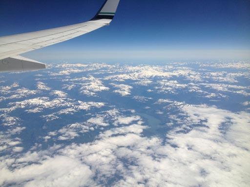 alaska mountains from plane