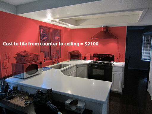 cost to tile entire kitchen wall is too expensive
