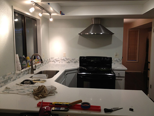 DIY kitchen backsplash: the easiest step of all is letting it dry.