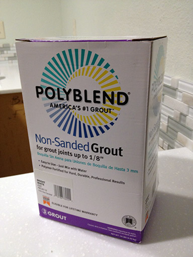 DIY kitchen backsplash non sanded grout polyblend