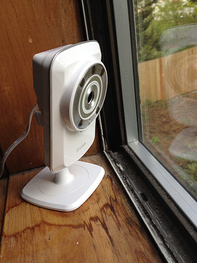 D-Link Wi-Fi Cloud Camera watching out a window